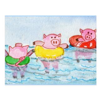 Cartão Postal Quando os leitão flutuarem - porcos da natação