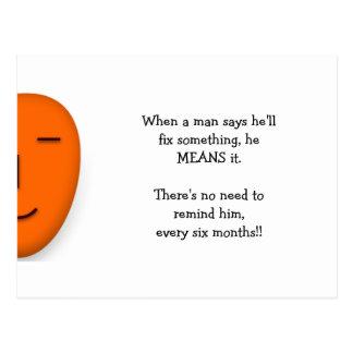Cartão Postal Quando um homem disser citações engraçadas da