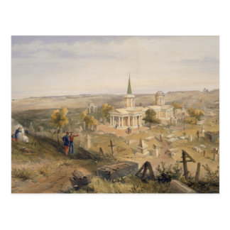 Cartão Postal Quarantine o cemitério e a igreja, placa 'do SE