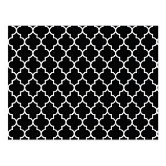 Cartão Postal Quatrefoil preto e branco