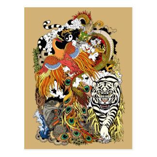 Cartão Postal quatro animais celestiais