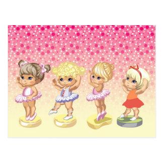 Cartão Postal Quatro bailarinas pequenas nos tutus