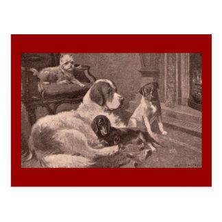 Cartão Postal Quatro cães pela lareira