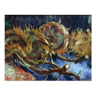 Cartão Postal Quatro Sunflowes ido semear por Van Gogh