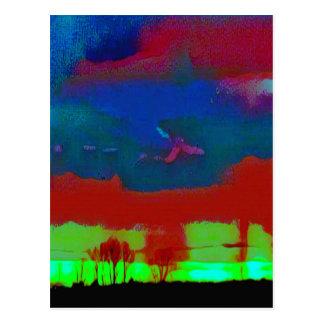 Cartão Postal Queda colorida céu abstrato tonificado do