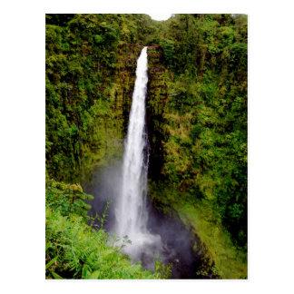 Cartão Postal Quedas de Akaka da cachoeira de Havaí