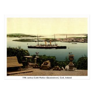 Cartão Postal Queenstown - porto do século XIX de Cobh, cortiça