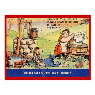 Cartão Postal Quem diz que está seco aqui? Vintage