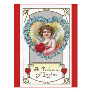 Cartão Postal Querubim 1910 da menina do vintage com coração