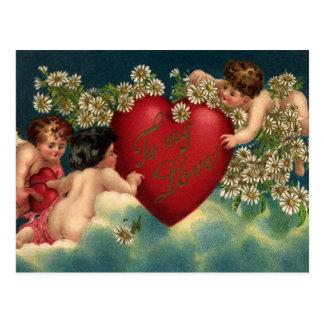 Cartão Postal Querubins do dia dos namorados do Victorian do