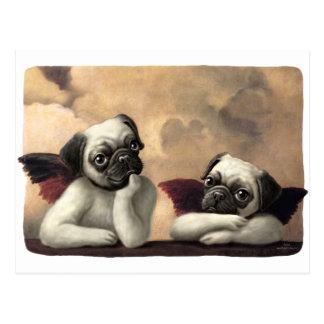 Cartão Postal Querubins do Pug inspirados por Raphael