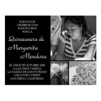 Cartão Postal Quinceanera adaptável Invitacion Tarjeta