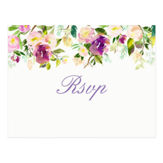 Cartão Postal Quinceanera elegante floral roxo RSVP