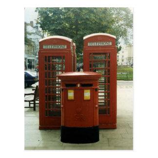Cartão Postal Quiosque britânicos de caixa e de telefone de
