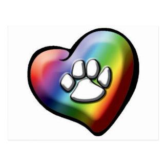 Cartão Postal rainbowheartpawprint