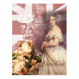 Cartão Postal Rainha Victoria Londres do vintage