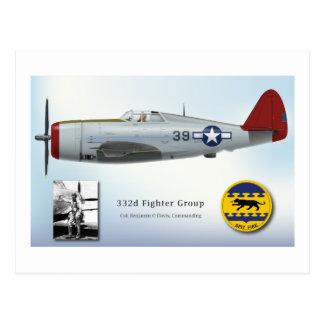 """Cartão Postal """"Raio de P-47C da cauda vermelha"""" de Tuskegee"""