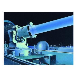 Cartão Postal Raio laser retro do assassino de Sci Fi do kitsch