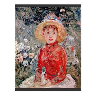 Cartão Postal Rapariga com a gaiola por Berthe Morisot