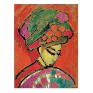Cartão Postal Rapariga com belas artes florescidas de Jawlensky