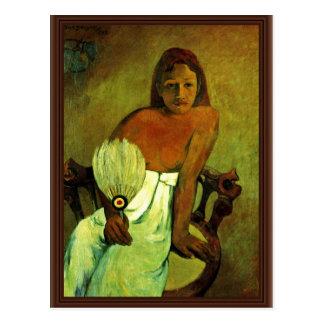 Cartão Postal Rapariga com um fã por Gauguin Paul