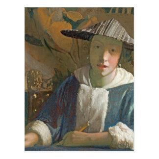 Cartão Postal Rapariga com uma flauta, c.1665-70