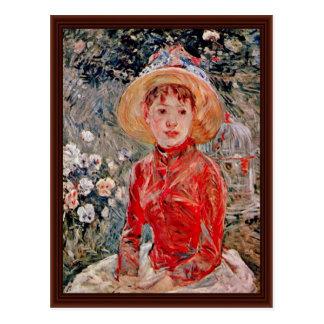 Cartão Postal Rapariga com uma gaiola por Morisot Berthe