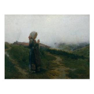 Cartão Postal Rapariga da pintura a óleo que faz malha a