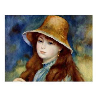 Cartão Postal Rapariga de Renoir em um chapéu de palha