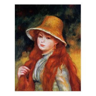 Cartão Postal Rapariga em um chapéu de palha por Renoir