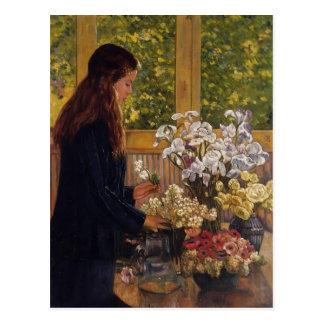 Cartão Postal Rapariga, vaso das flores por Theo Rysselberghe