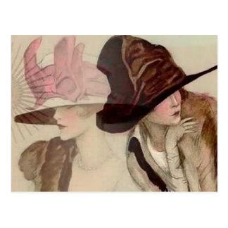 Cartão Postal Raparigas de Marcello Dudovich na ilustração dos