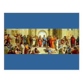 """Cartão Postal Raphael """"a escola detalhe de Atenas"""" cerca de 1511"""