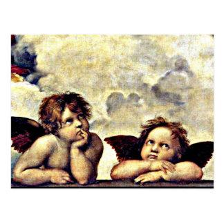Cartão Postal Raphael: Putti, detalhe do Sistine Madonna