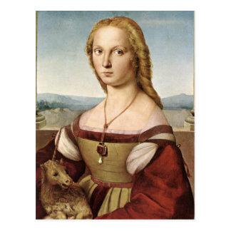 Cartão Postal Raphael Sanzio - senhora Com um unicórnio