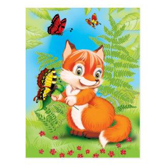 Cartão Postal raposa e borboleta