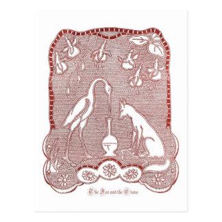 Cartão Postal Raposa vermelha e guindaste