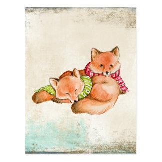 Cartão Postal Raposas