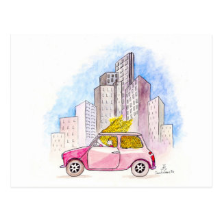 Cartão Postal Rapunzel conduz Mini Cooper