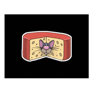Cartão Postal rato bonito colado no queijo