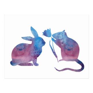 Cartão Postal Rato e coelho