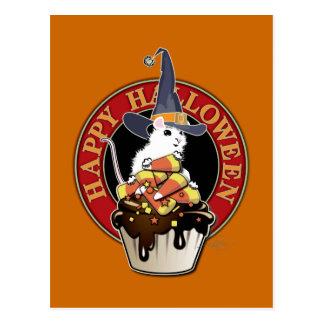 Cartão Postal Rato feliz do branco do Dia das Bruxas