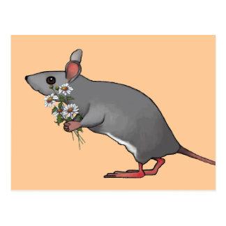 Cartão Postal Rato que traz flores, margaridas: Arte