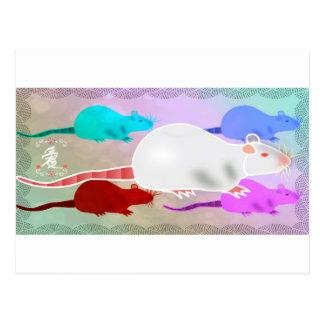 Cartão Postal Ratos Trippy do animal de estimação do arco-íris