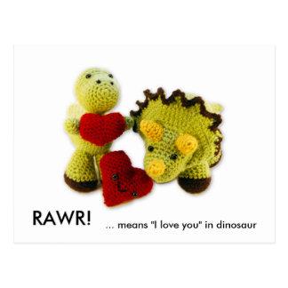 """Cartão Postal RAWR! ,… significa """"eu te amo"""" no dinossauro"""