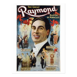 Cartão Postal Raymond o ato mágico do grande vintage dos milagre
