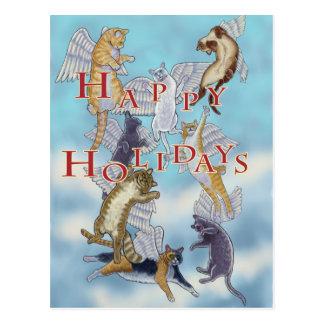 Cartão Postal Rebanho de gatos do anjo boas festas