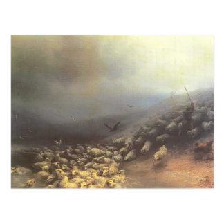 Cartão Postal Rebanho de Ivan Aivazovsky- dos carneiros no