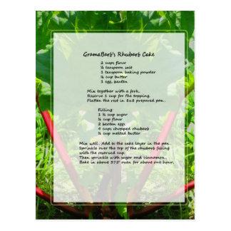 Cartão Postal Receita do bolo do ruibarbo