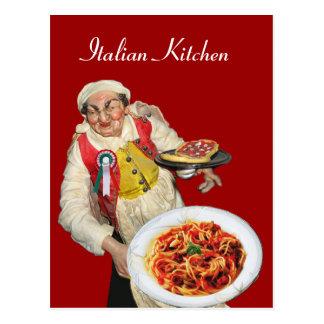 Cartão Postal Receita ITALIANA do vermelho da COZINHA